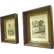 Pair Small Walnut Frames with Silk Prints
