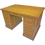 Oak Flat Top Desk with Raised Panels
