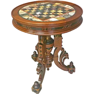 Victorian Pietra Dura Marble Checkerboard Table