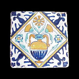 Dutch Delft Polychrome Tile c.1625