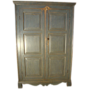 C. 1840 French Canadian Painted Armoire with Raised Panels