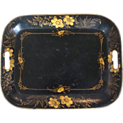 Gold Bronzed Black Tole Tray  ca. mid 1800's