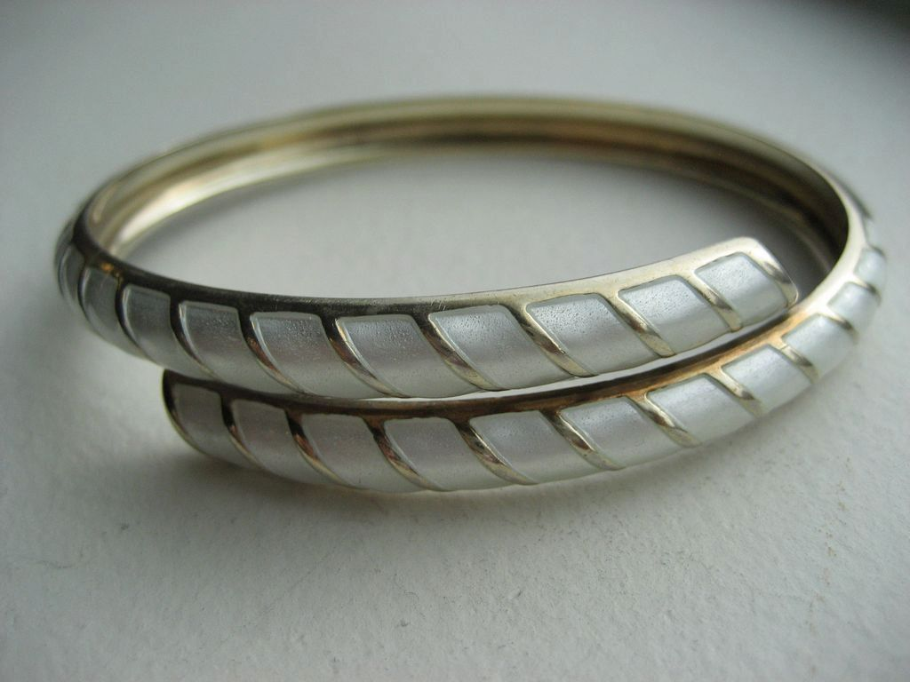David Andersen Norway Vintage Sterling Gold Plated White Enamel Double Bangle
