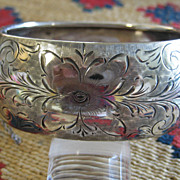 Vintage Sterling Engraved Wide Cuff Bracelet