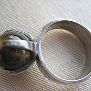 Kupitaan Kulta Vintage Sterling Modernist Finnish Tiger's Eye Ring