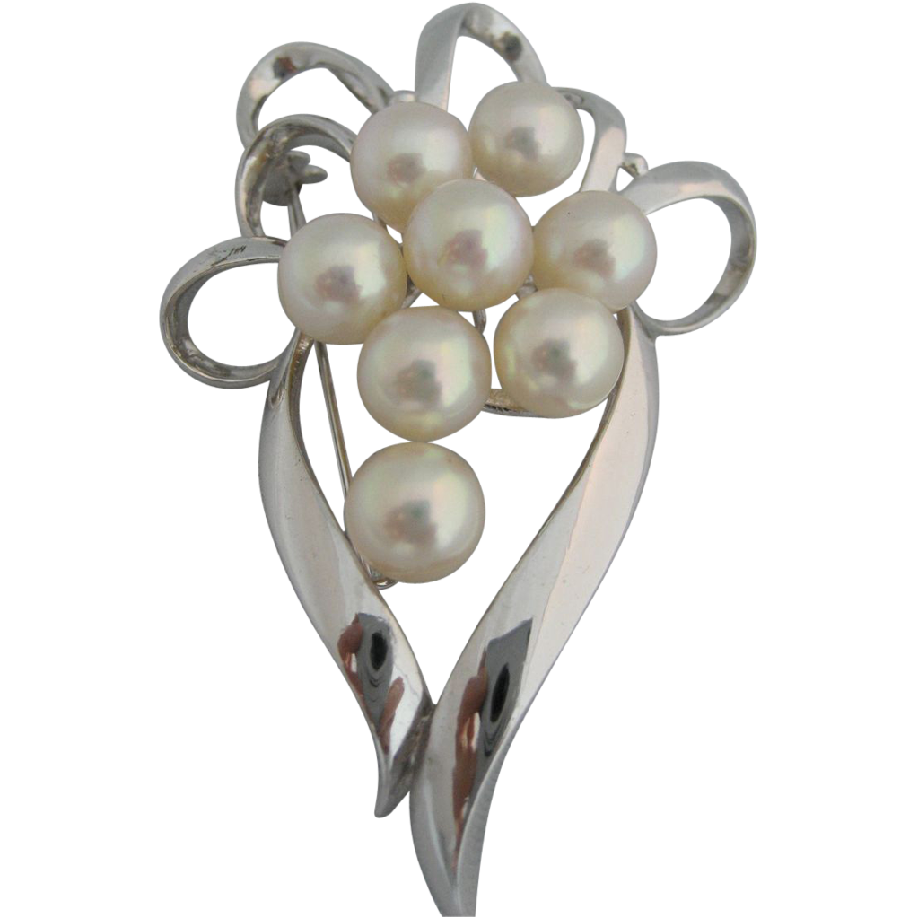 "Vintage Sterling ""950"" Japanese Brooch With Eight Large Cultured Pearls"