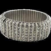 "Vintage Art Deco ""Machine Age"" Metal And Rhinestone Bracelet"