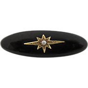 Antique Victorian Jet Brooch Set With 10Kt Gold And Seed Pearl