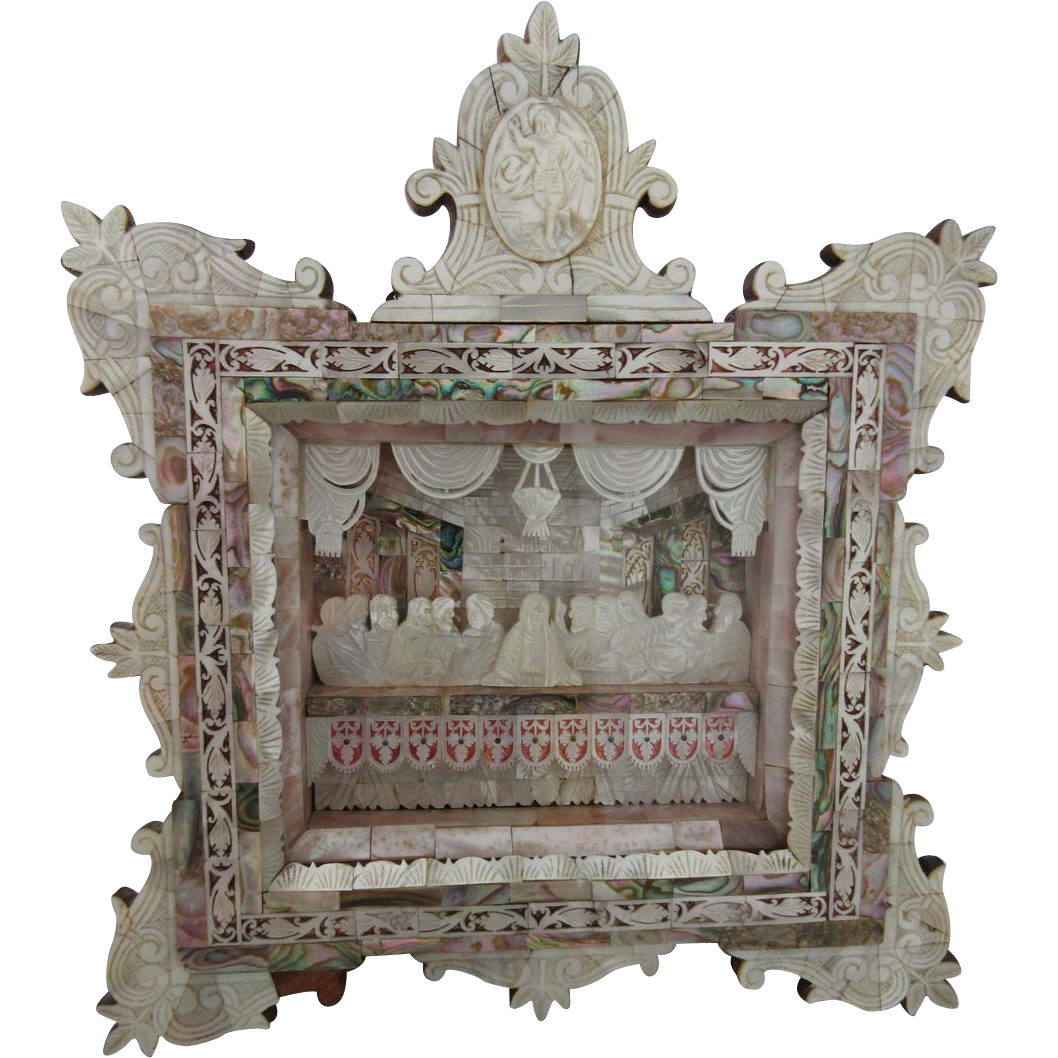 Vintage Icon Carved Mother Of Pearl Bethlehem The Last Supper Shadow Box
