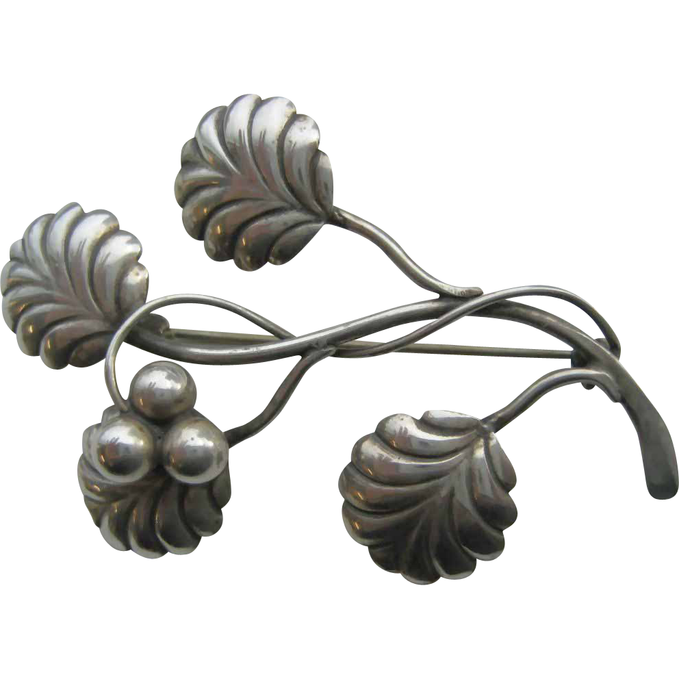Vintage Danish Sterling Stylized Brooch