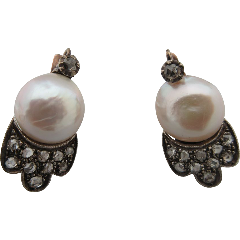 Antique Italian 18 Kt Rose Gold Diamond ,Silver And  Pearl Earrings