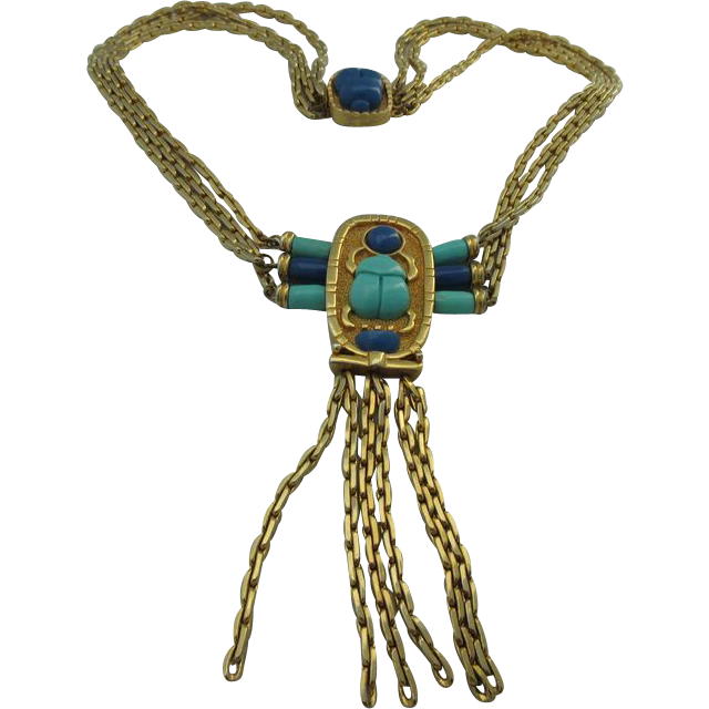Vintage 1960's Hattie Carnegie Egyptian Revival Necklace