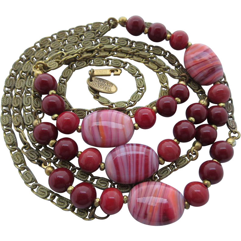 "Vintage Miriam Haskell Brass Chain And Red Glass Beads ""Sautoir"" Necklace"
