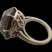 Vintage 10 Kt Large Smokey Quartz Cocktail Ring