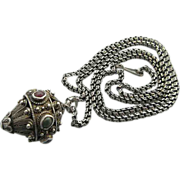 Vintage Silver Filigree Tribal Pendant On Long Sterling Chain