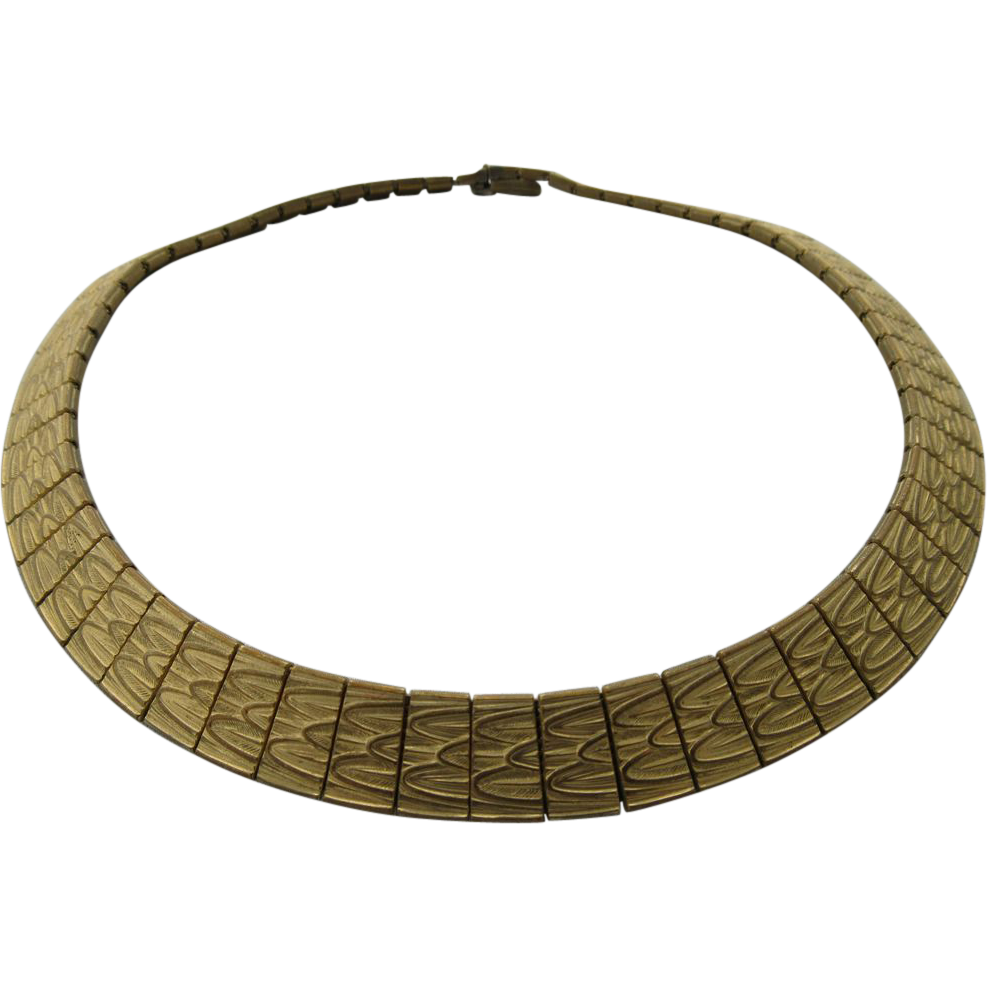 "Vintage 1962 ""Grosse"" German Brass Gold Plated Collar Necklace"