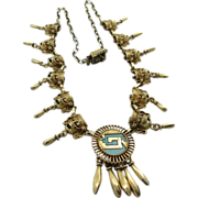 Vintage Sterling And Turquoise Gold Plated Mexican Aztec Mask Necklace