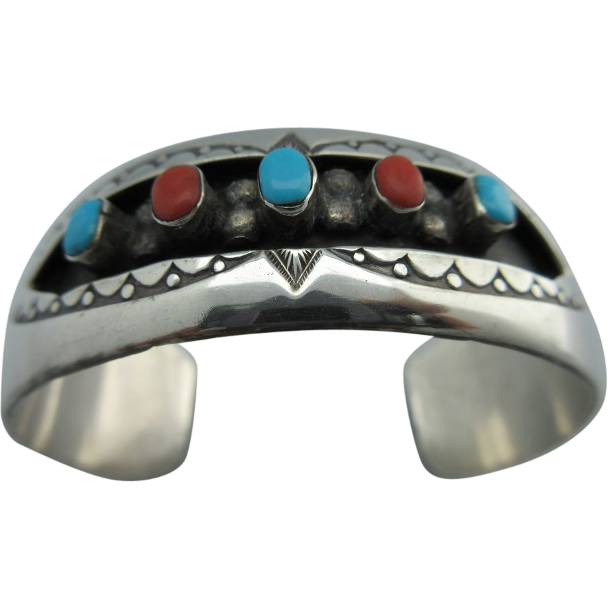 "Vintage Native American New Mexico Sterling Turquoise And Coral ""W Long"" Cuff Bracelet"