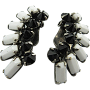 Vintage Sherman Black And White Crystal Earrings
