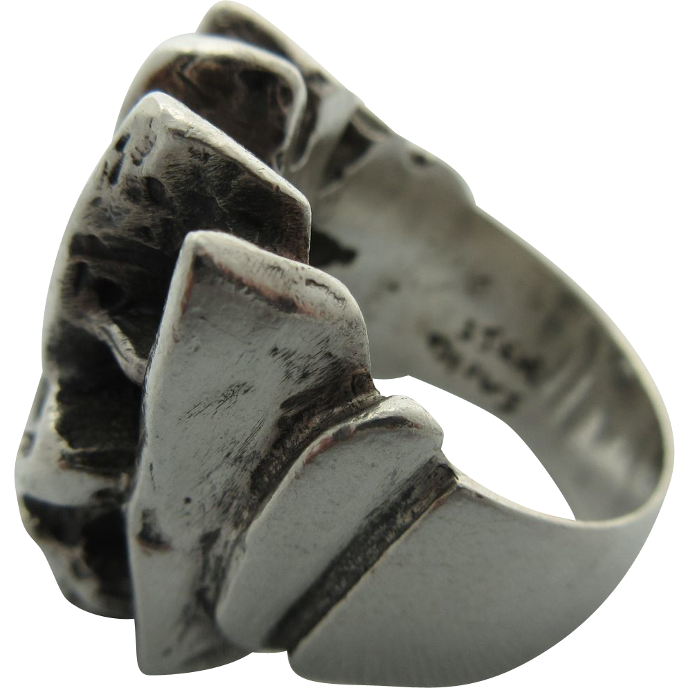 "Modernist Vintage Sterling ""OPUS"" Ring"