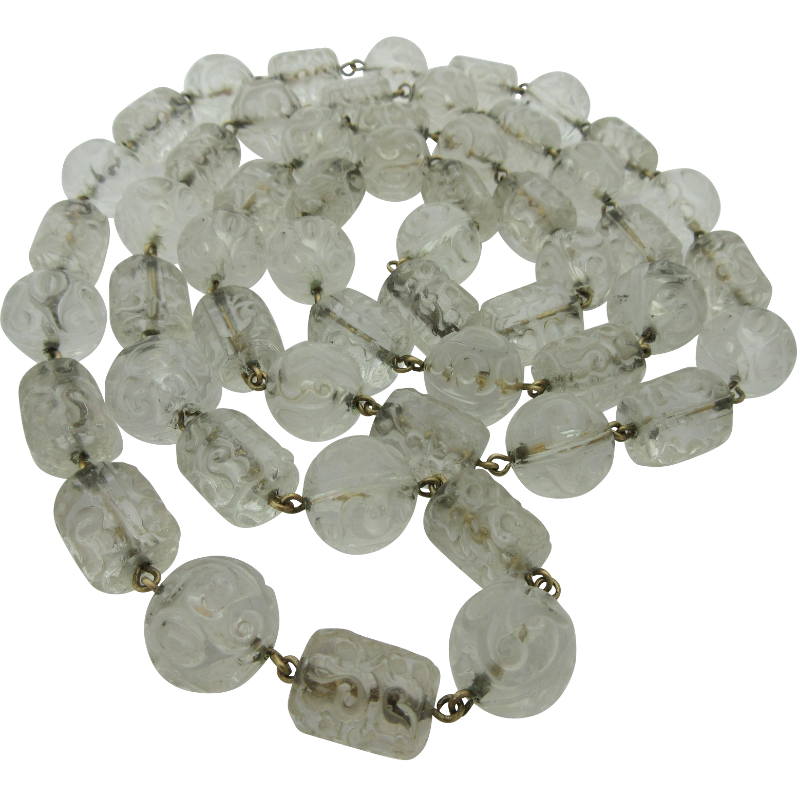 Vintage Art Deco Clear Molded Glass 39 Inch Beaded Necklace