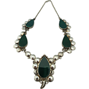 Large Vintage Sterling Necklace Set With Green Onyx