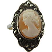 Vintage hand Carved Cameo Ring Set in Sterling With Marcasites And A 9 Ct Shank