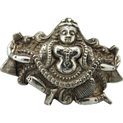 "Antique Victorian Anglo Indian ""Swami"" Sterling Goddess Brooch"