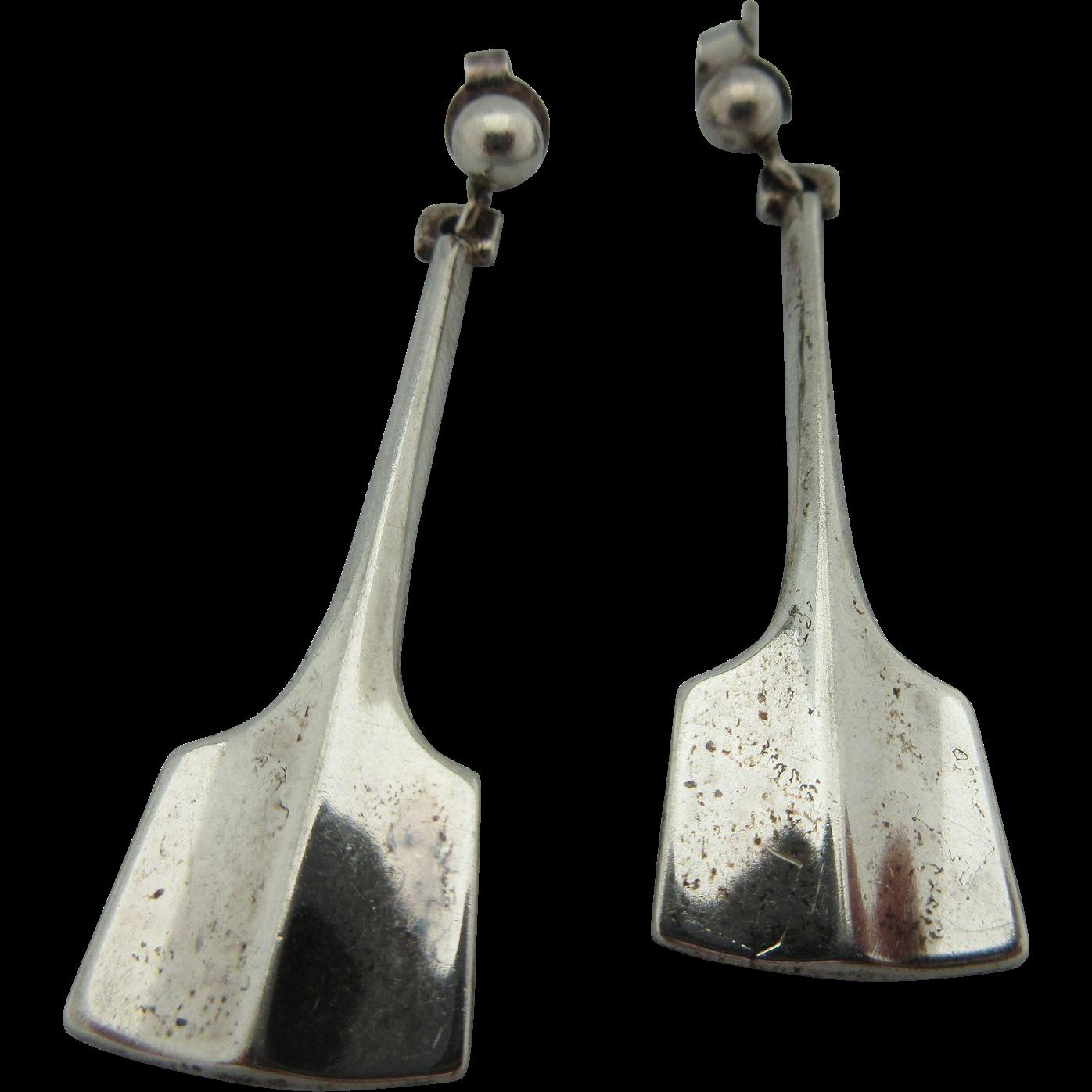 """Vintage 1960's David Andersen , Norway Sterling Pierced  """"Thor's Hammer, Paddle """" Earrings"""