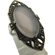 Vintage Art Deco Sterling Chalcedony And Marcasite Ring