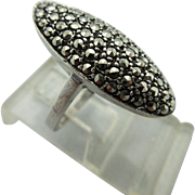 Vintage Art Deco Sterling And Pave Marcasite Ring