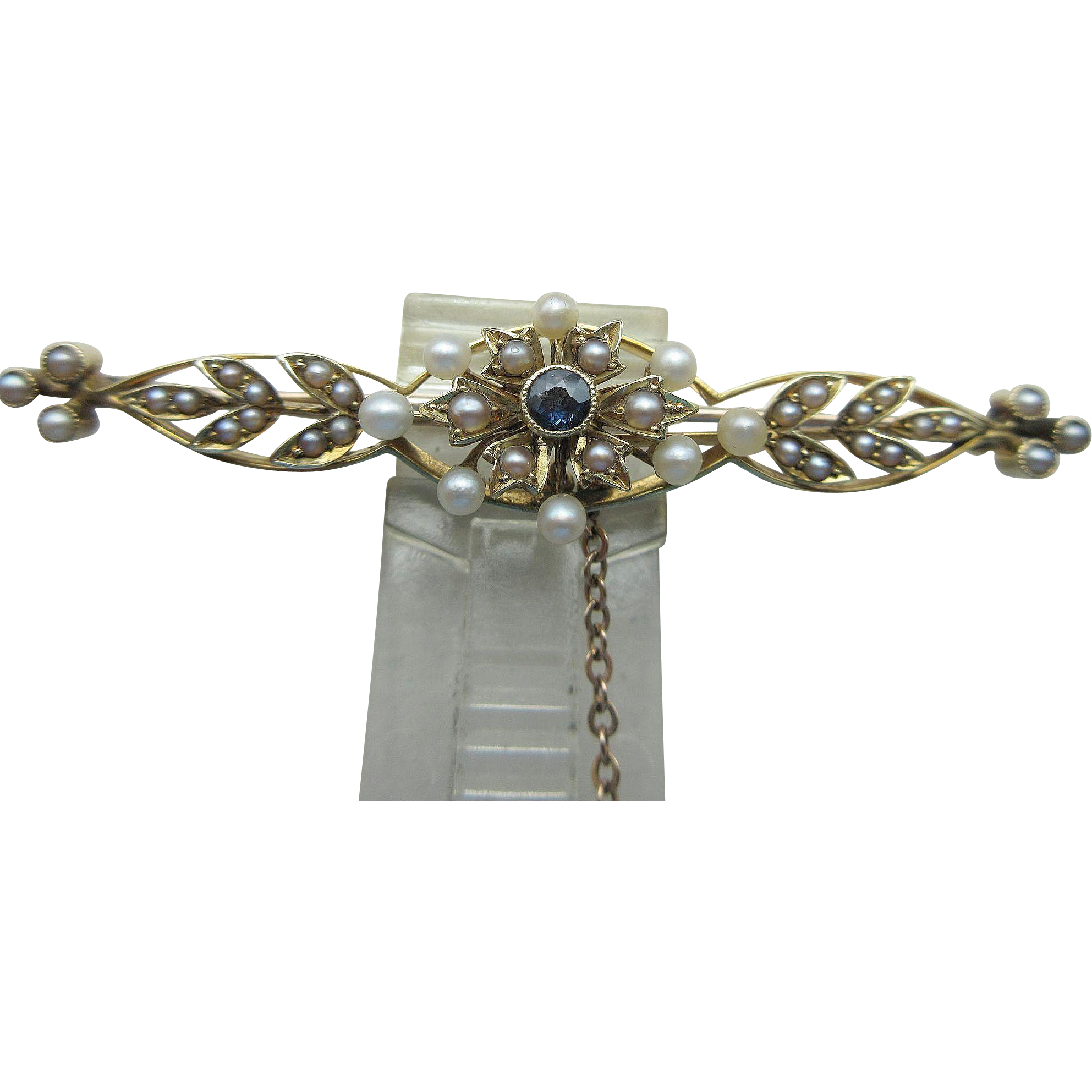 Antique 15 Ct Late Victorian Yellow Gold Sapphire And White And Silver Toned Pearl Bar Pin