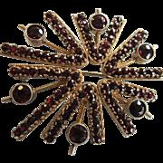 "Vintage Modernist Mid Century Silver Gilt Bohemian Garnet ""Starburst"" Brooch"