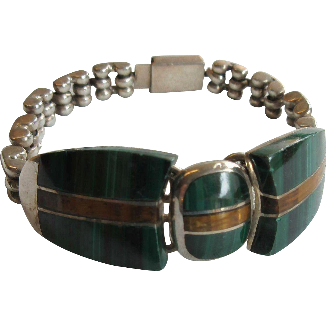 "Vintage ""Escorcia"" Mexican Sterling  Unisex Bracelet Set With With Malachite And Tiger's Eye"