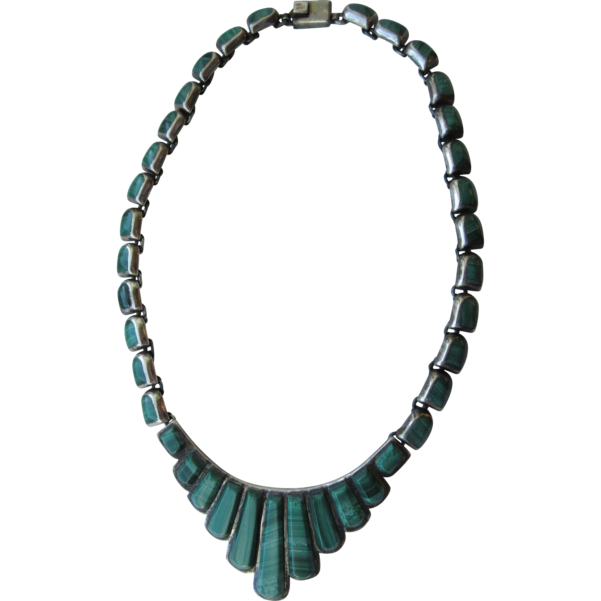 "Vintage ""950"" Sterling Modernist Mexican Hand Made Necklace Set With Malachite Weighing 100.8 Grams"