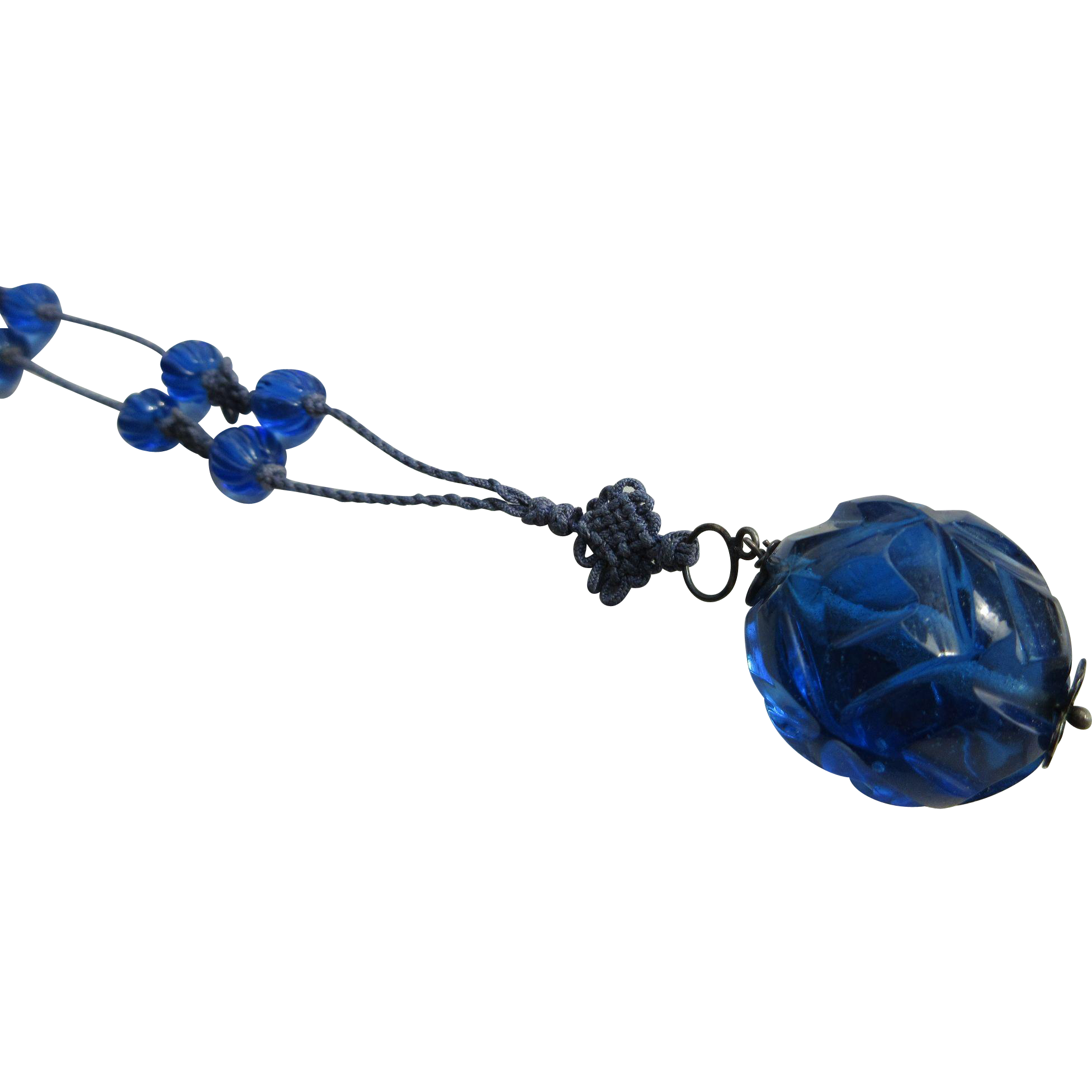 Vintage 1920's Art Deco Chinese Cobalt Blue Glass Beaded Flapper Necklace On Hand Knotted Silk Cord