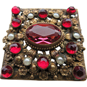 Vintage Czechoslovakian Brass And Red Rhinestone And Faux Seed Pearl Brooch