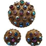 "Vintage ""Mode Art/ Art C "" Gold Plated  Brooch And Earrings Set With Multi Coloured Rhinestones"