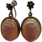 "Vintage ""800"" European Silver Gilt Screw Back Earrings Set With Genuine Carved Shell Cameos"