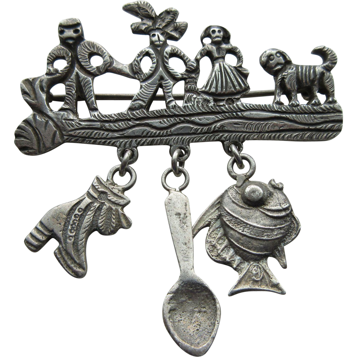 "Vintage ""900"" Silver Hand Made Ethnic Early Peruvian Brooch With Dangles"