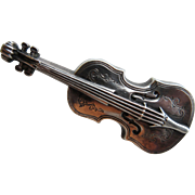 "Antique Victorian Sterling Hallmarked 1901 ""Violin"" Brooch"