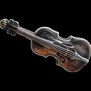 """Antique Victorian Sterling Hallmarked 1901 """"Violin"""" Brooch"""