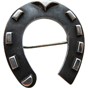 "Antique Victorian ""circa 1880 Sterling Horseshoe Brooch"