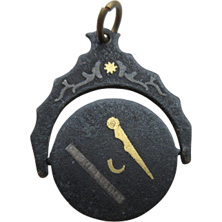 "Antique Victorian Iron ""Spinning"" Masonic  Watch Fob With Silver And Gold Inlay"