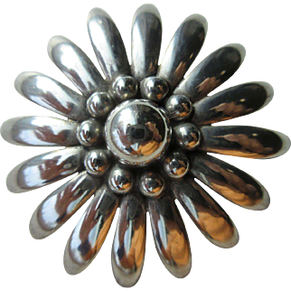 Vintage Sterling Mid Century Modernist Flower Brooch Signed Denmark, MS