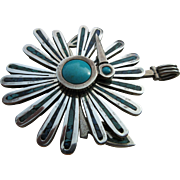 "Vintage Sterling And Turquoise Mid Century Modernist Cecelia Tono of Tazco  ""Twirling""  Bird Pendant"