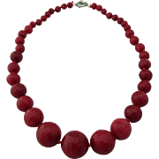 Italian Hand Made Graduated Indian Pigeon`s Blood Ruby Faceted Beaded Necklace