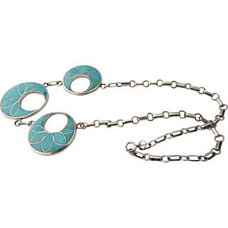Vintage New Mexico Native American Sterling And Turquoise Franck Vacit Zuni Inlaid Necklace