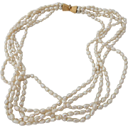 Vintage Five Strand Fresh Water Pearl Necklace With 19 Kt Portuguese Yellow Gold And Diamond Clasp