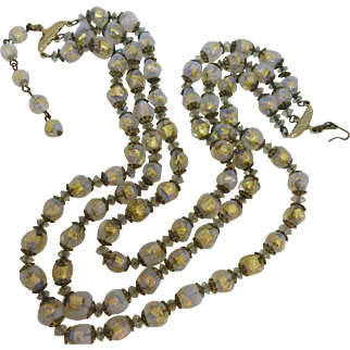 Vintage Gold Foil Venetian Glass Beaded Three Strand Necklace